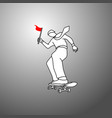 businessman holding red flag on skateboard vector image