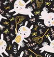 Childish seamless pattern with rabbits butterflies vector image