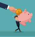 color background of businessman carrying a piggy vector image