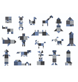 people animals houses transport geometric shapes vector image
