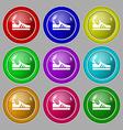 Running shoe icon sign symbol on nine round vector image