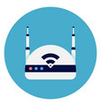 wifi internet router icon on round blue background vector image