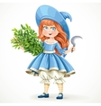 Cute little girl in witch costume holding an vector image