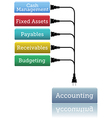 Accounting financial books plug in vector image