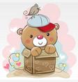 birthday card with a cute teddy vector image
