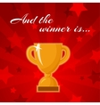Golden winners cup vector image