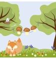 Woods Flowers Cartoon Mushroom Food Strawberry vector image