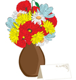 vase of spring flowers and a card vector image vector image