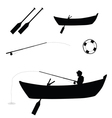 child fishing in boat vector image