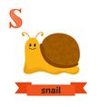 Snail S letter Cute children animal alphabet in vector image