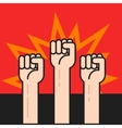 Fists hands up protest sign crowd of protesters vector image