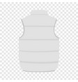 Back of white warm vest mockup realistic style vector image