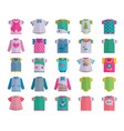 flat baby infant clothes textile icon set vector image
