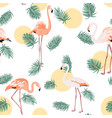 green tropical leaves pink flamingo sun moon round vector image