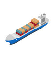 isometric shipping icon with container ship vector image