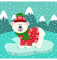 polar bear in knitted sweater and cap on ice floe vector image