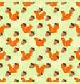 squirrels seamless pattern vector image