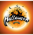 Happy Halloween with pumpkin and moon vector image vector image