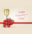 glass of champagne and valentine heart vector image