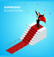 isometric super hero businessman on the podium vector image