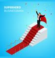 Isometric super hero businessman on the podium vector image