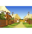cartoon village street with houses vector image