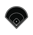 Baseball field black simple icon vector image