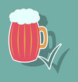 beer in glass cup refreshing drink with white vector image