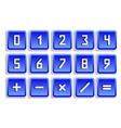 Blue numeric button set vector image