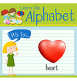 Flashcard letter H is for heart vector image