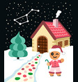 gingerbread man invinte to come to his house vector image