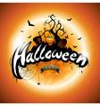 Happy Halloween with pumpkin and moon vector image