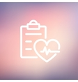 Heartbeat record thin line icon vector image