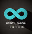Infinity Symbol - Blue Retro Endless Sign on Dark vector image