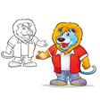mascot cute lion cartoon vector image