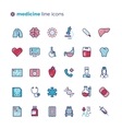 Medicine and medical equipment line icons vector image