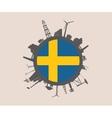 Circle with industrial silhouettes Sweden flag vector image