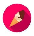 Chocolate ice-cream icon in flat style isolated on vector image