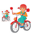 small girl ride bikes vector image