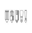 set of drawing and writing tools vector image