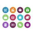 Shopping circle icons on white background vector image