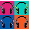 Headphones Pop Art 2 vector image