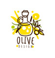 image of an oil flask and some olives hand vector image