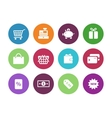 Shopping circle icons on white background vector image