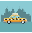 taxi car new york side view town background vector image