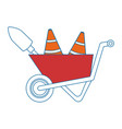wheelbarrow construction with cones and shovel vector image