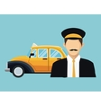 driver old taxi cab car commercial transport vector image