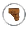 Army handgun holster icon in cartoon style vector image