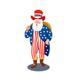Santa Claus dressed in American Flag stars and vector image