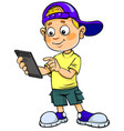 boy with smartphone vector image